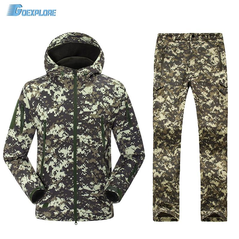 Camouflage pants and jacket Military uniform army waterproof warm fleece soft shell tactical hiking hunting suit for men spring autumn military camouflage army uniform ghillie suit jacket and trousers hunting clothes with cap face mask for hunting