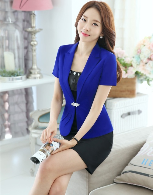 New Professional OL Styles Business Suits Jackets And Skirt Slim Fashion 2016 Summer Short Sleeve Female Outfits Blazers