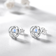 Meetmereo pure 925 silver Blu-ray stone four-leaf sedge ear nail lady Gemstone earrings Christmas wedding gift fine jewelry