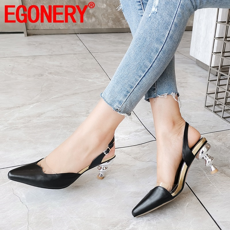 EGONERY woman shoes 2019 summer new fashion sexy high quality genuine leather woman sandals outside high heels buckle shoes EGONERY woman shoes 2019 summer new fashion sexy high quality genuine leather woman sandals outside high heels buckle shoes