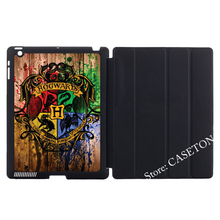 Harry Potter Hogwarts On Wood Print Stand Folio Cover Case For Apple iPad Mini 1 2 3 4 Air Pro 9.7(China (Mainland))