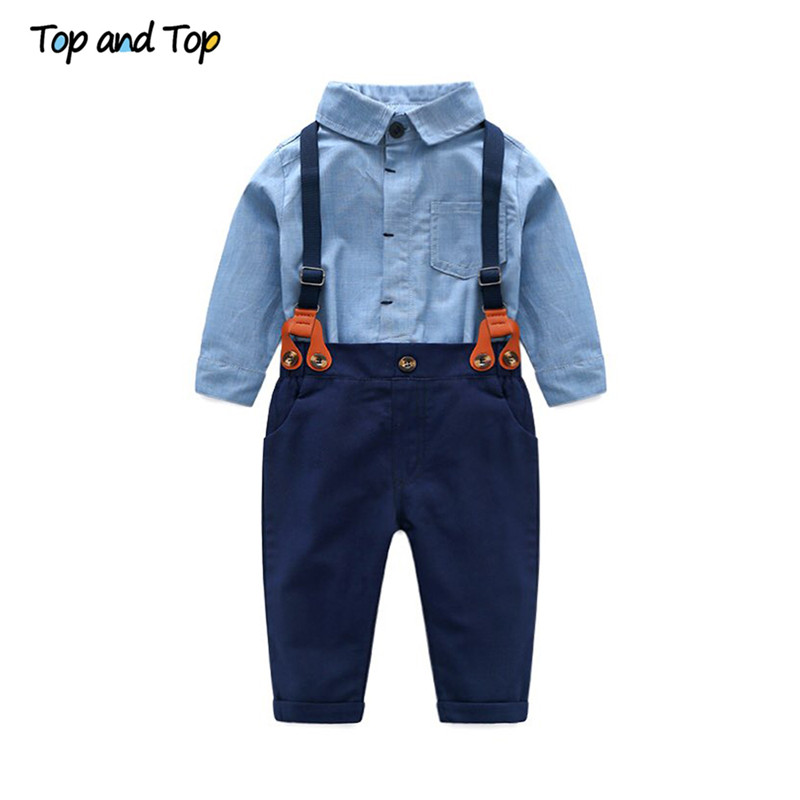 ce3dd61fe9a Top and Top Toddler Baby Boys Gentleman Clothes Sets Long Sleeve Romper+Suspenders  Pants 2Pcs Wedding Party Casual Outfits-in Clothing Sets from Mother ...