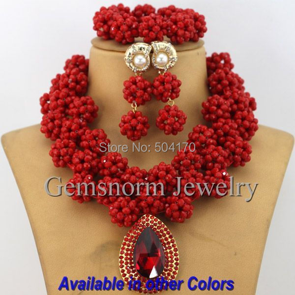 Amazing Sharp Red African Costume Jewelry Set Indian Bridal Jewelry - Fashion Jewelry - Photo 2