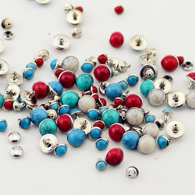 100sets//lot acryl turquoise and brass rivets for leather studs and spikes diy