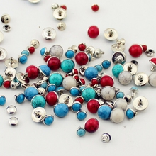 2019 new fashion 100sets/lot acryl turquoise and brass rivets for leather studs spikes clothes diy accessory