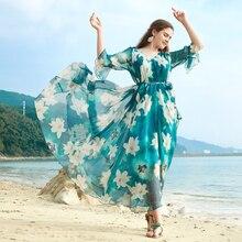 Bohemia Style Floral Printed Chiffon Long kimono Maxi Dress Free and loose Beach Wedding Long Flowy Dress Flare Sleeve Plus Size недорого