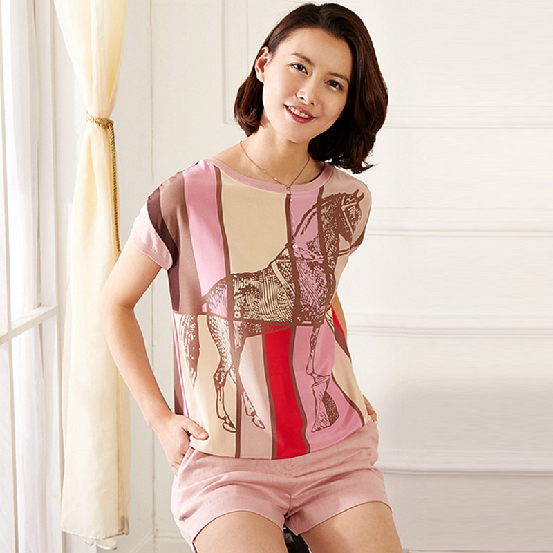 Tees Women 100 Silk Patchwork Fabric Simple O Neck Short Sleeves 2 Colors Short Sleeve Casual