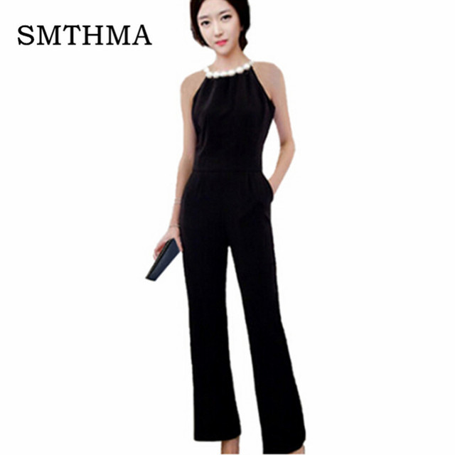9f215953106 SMTHMA Pearl Embellished Backless Halter Wide Leg Party Jumpsuit Black  Sleeveless High Waist Plain Maxi Women Elegant Jumpsuit