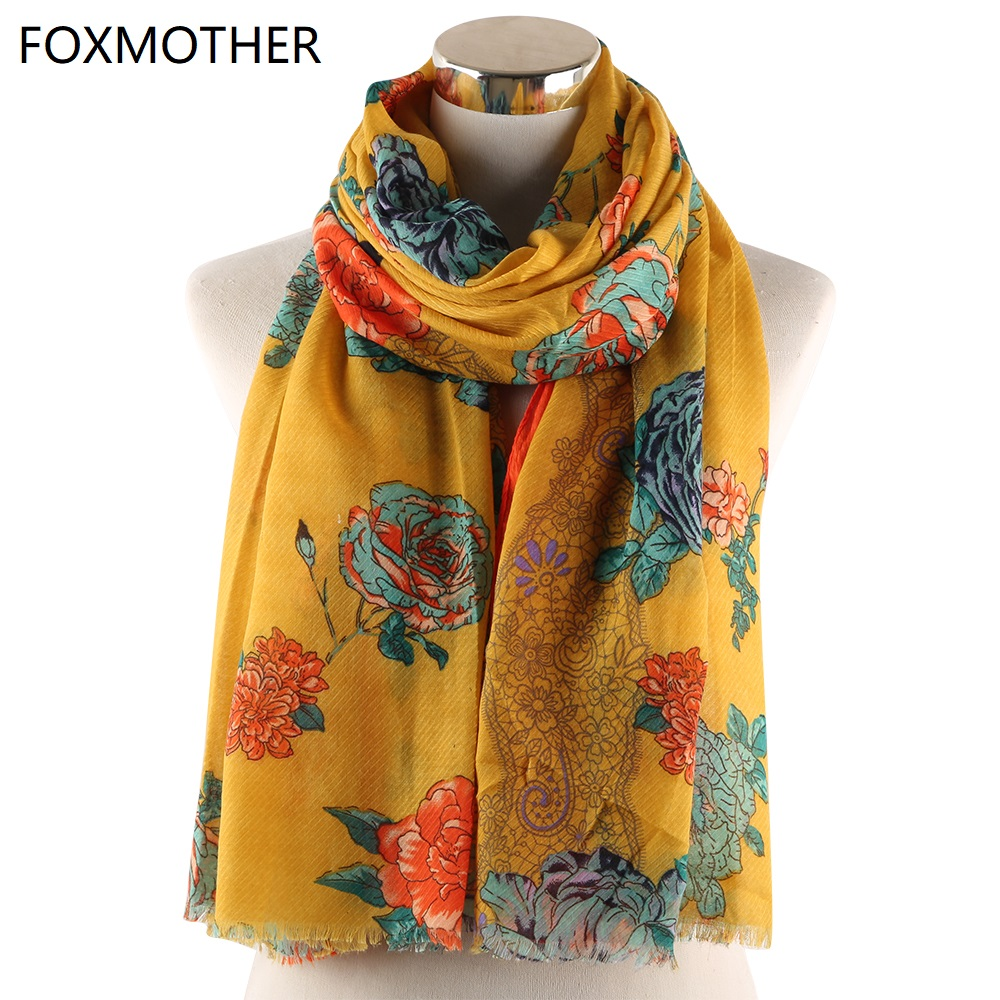 FOXMOTHER New Yellow Russian Floral Scarf Foulard Mujer Hijab Shawl Pashmina Beach Wrap Flower Scarves Ladies Woman