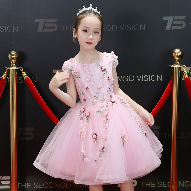 2018 New Elegant Baby Kids Pink Color Sleeveless Princess Birthday Wedding Dress Children Holiday Party Tutu Piano Dress Wear все цены