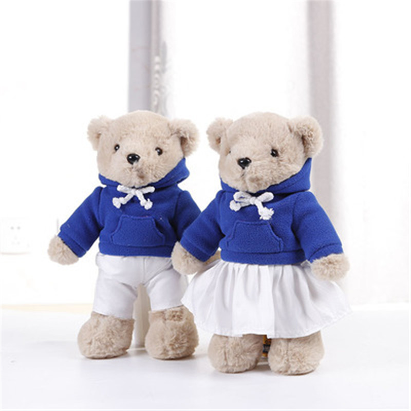 30cm Lovely Plush Couple Teddy Bear With Cloth Toys Sports Style Bear Dolls Stuffed Toy Kids Baby Children Girl Birthday Gift
