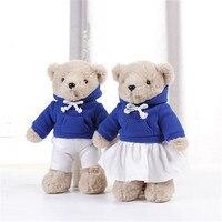 30cm Lovely Plush Couple Teddy Bear With Cloth Toys Sports Style Bear Dolls Stuffed Toy Kids Baby Children Girl Birthday Gift