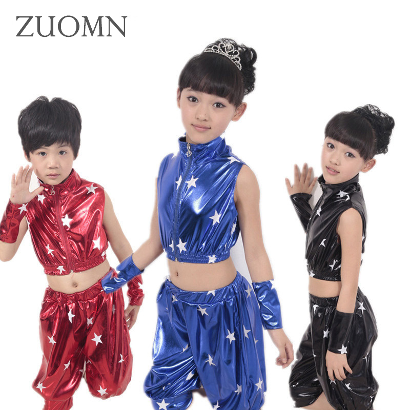 Children Hip Hop Performance Clothing Sets Kids Sequins Dancewear Suits Boys Girls Jazz Modern Dance Costumes YL482 new kids dancewear set boys girls sequined stage performance costume modern jazz hip hop dance wear top