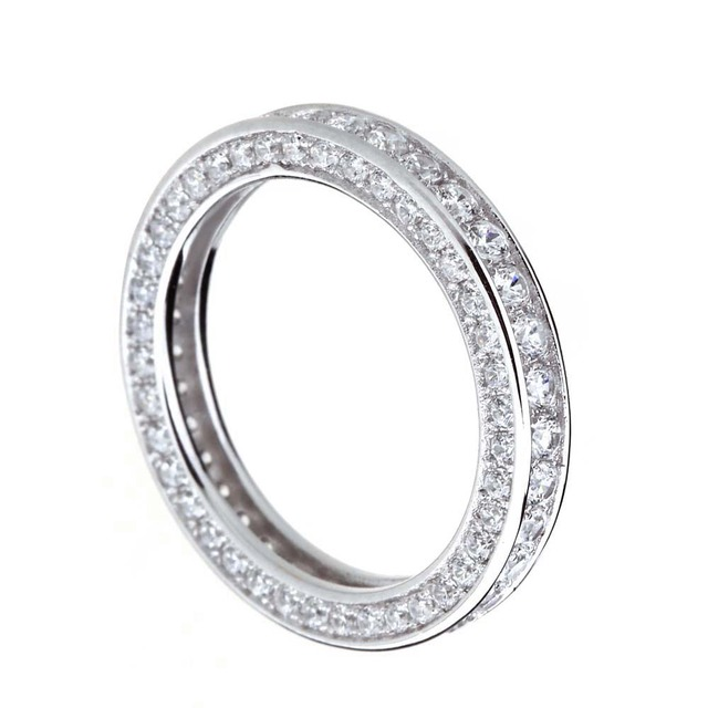 925 Sterling Silver Ring Women Cubic Zirconia Wedding Engagement Band Finger Rings