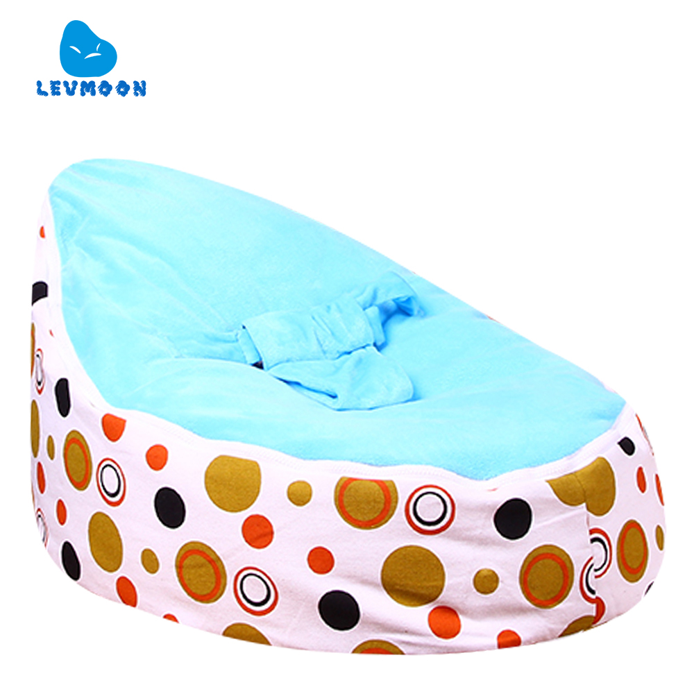 Levmoon Medium Brown Circle Print Bean Bag Chair Kids Bed For Sleeping Portable Folding Child Seat Sofa Zac Without The Filler