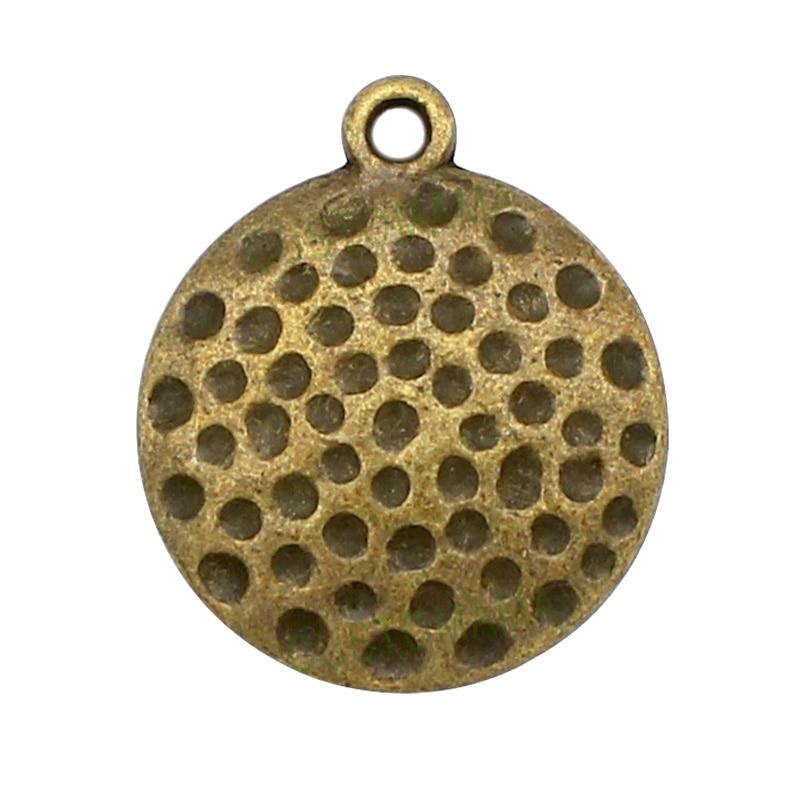 20pcs-Golf Ball Charms, Antique Bronze Golf Ball charm pendants, sports charm 22x19mm