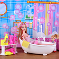 Diy Bathroom dollhouse shower dolls furniture sets miniature doll mom and baby girl set Circulating water bathtub gift for girls