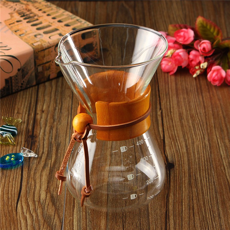 New Arrival 2018 Heat Resistant Classic Glass Coffee Maker Chemex Style Pour Over Coffeemaker 400ml/3 Cups Coffee Drip Pot