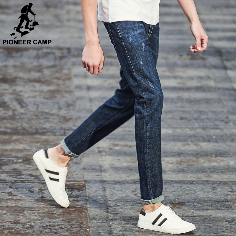 Pioneer Camp New Spring Jeans men brand clothing fashion straight denim trousers casual slim fit denim pants for men ANZ707002 men s cowboy jeans fashion blue jeans pant men plus sizes regular slim fit denim jean pants male high quality brand jeans