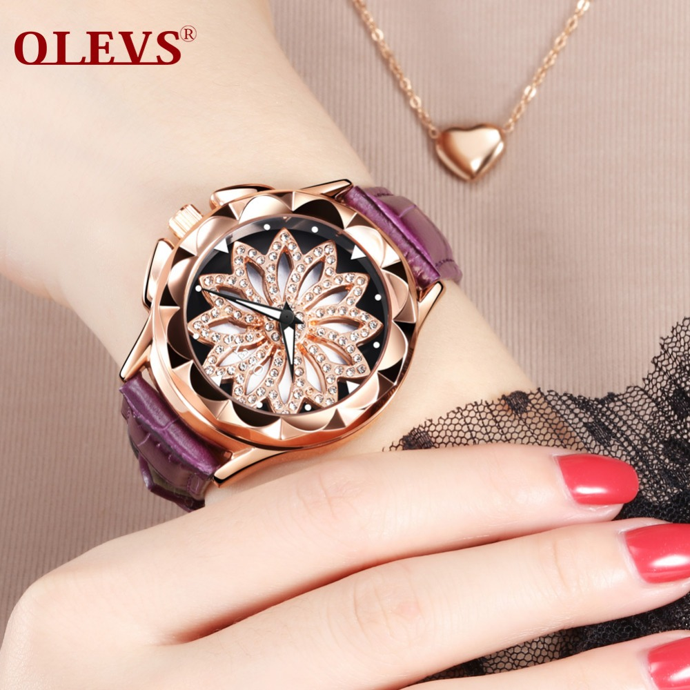 OLEVS Fashion hollow out Watches Women Luxury Brand Rhinestone Gold Watch Ladies Leather Quartz Casual Wristwatch Reloj Mujer brand women watches genuine leather luxury square ladies dress watch girl rhinestone gold case waterproof quartz wristwatch red