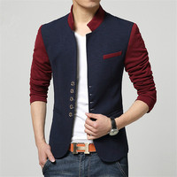 Plus Size Blazer Men Chinese Collar Suit Mens Summer Blazer Hommes Casual Jacket Fashion Patchwork Brand Clothing Veste Homme