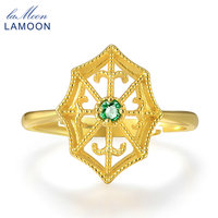 LAMOON Spider Web 2 5mm Round Cut Green Emerald 925 Sterling Silver Jewelry Wedding Ring With