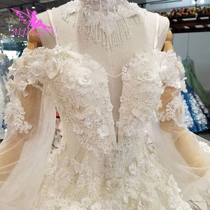 Image 2 - AIJINGYU וגאס חתונות אפור שמלות מוסלמי 2 ב 1 לבן פורמלי ערבית Dreess בציר תחרה