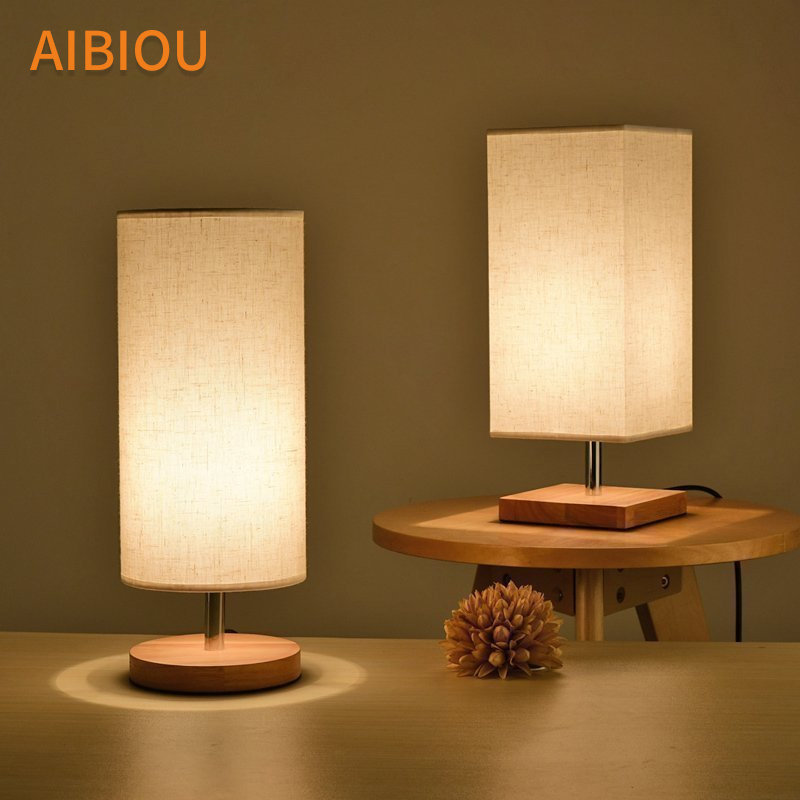 AIBIOU Wooden LED Table Lamps With Cloth Lampshade For Living Room Hotel Reading Lamp Bedroom Bedside Lighting Wood Desk Lights retro luxury peacock led table lamps cloth lampshade for bedroom living room lighting e27 110 220v desk lights