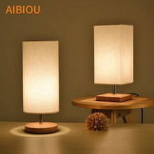 AIBIOU Wooden LED Table Lamps With Cloth Lampshade For Living Room Hotel Reading Lamp Bedroom Bedside Lighting Wood Desk Lights цена в Москве и Питере