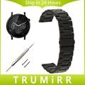 22mm de acero inoxidable venda de reloj de la correa de liberación rápida para motorola moto 360 2 ° 46mm 2015 Hombres Wirst del Cinturón Pulsera de Plata Negro