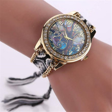 2016 New Vintage Women Geneva Watch Fashion Women's Ladies Braided Band Rhinestone Analog Quartz Wrist Watches Hot High Quality