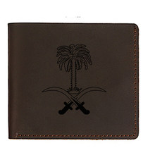 Engraved Picture National emblem of Saudi Arabia Wallets Men Genuine Leather Coin Purses Money Card Holders Short Hasp wallet(China)