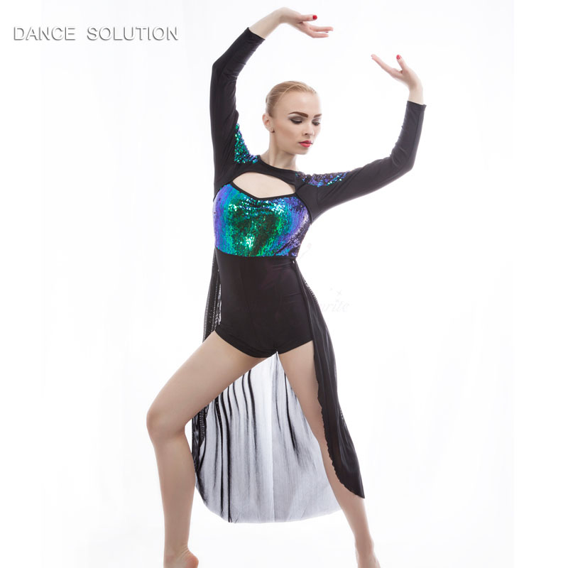 Girls and Women Ballet Lyrical and Contemporary Dance Costumes Long Sleeve Sequin Dress with Boyshort Design