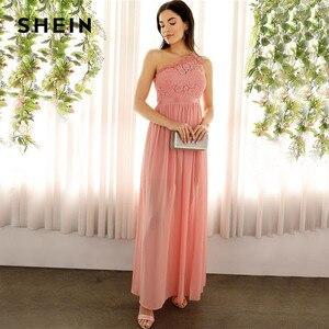 Image 5 - SHEIN Sexy rose dentelle une épaule fente avant mixte médias Maxi robe femmes Empire une ligne fente ourlet longues robes de fête dété