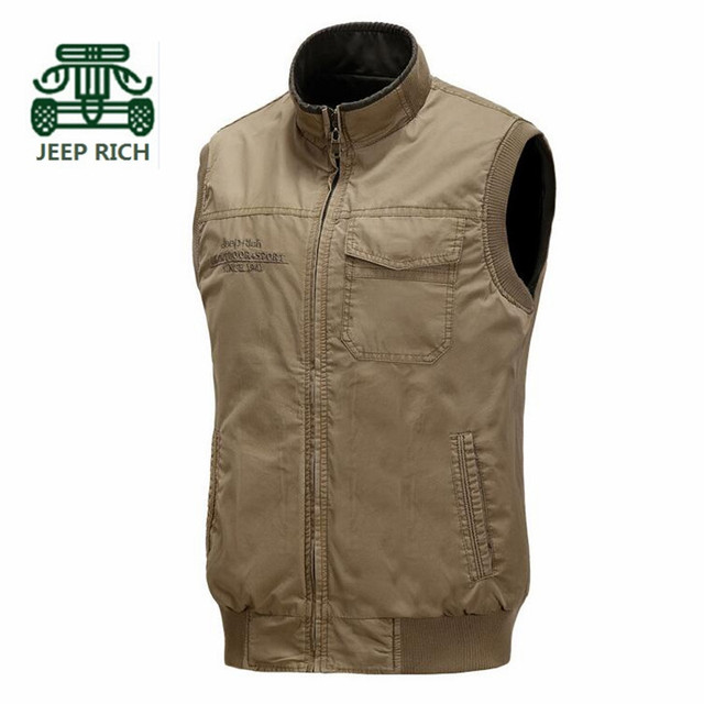Rich AFS JEEP Double Side 100% Cotton Real Man Cardigan Cargo Sleeveless Jackets,New Design Chest Pocket Man Overall Winter Vest