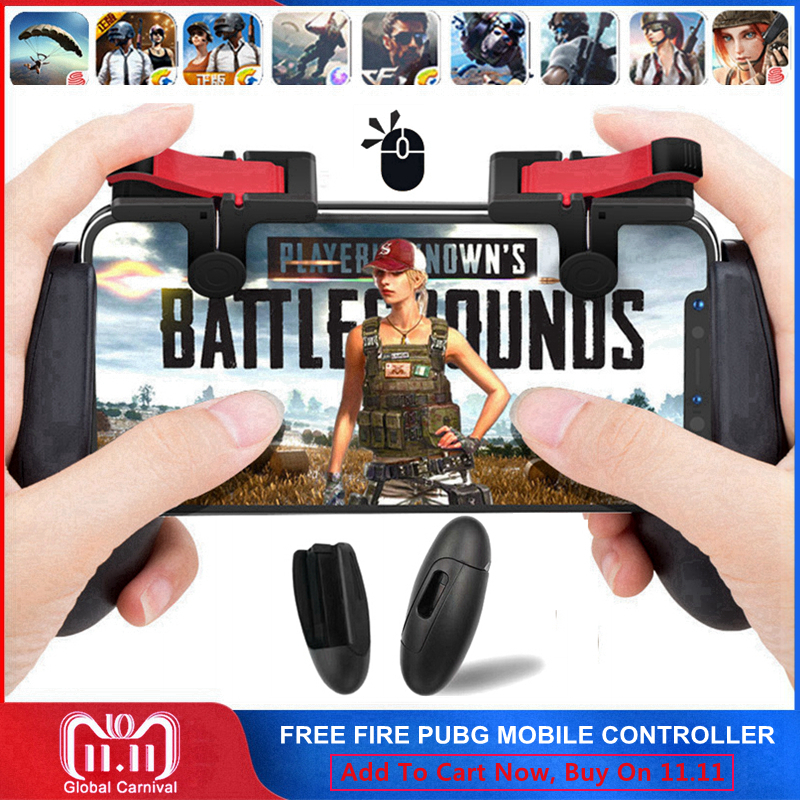 PUGB Fortnited Free Fire PUBG Mobile Game Pad Phone Joystick L1 R1 Trigger Button Mobile Controller Gamepad for iPhone Android all in 1 gamepad for pubg controller l1 r1 mobile fire shooter for pubg trigger adjustable mobile gaming accessories for pubg
