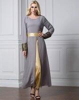 2018 Women Muslim Chiffon Dress O Neck Long Sleeve Patchwork Satin Abaya Plus Size 7XL Jilbabs and Abayas