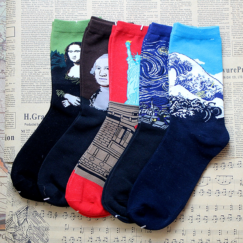 HOT 5 Pair/lot Socks Unisex Vintage Retro Famous Painting Art Socks Novelty Funny Novelty For Men Women Free Shipping