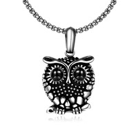 New Brand Charms Owl Necklaces Pendants Vintage Crystal Gem 316L Stainless Steel Pendants Necklace Women Men