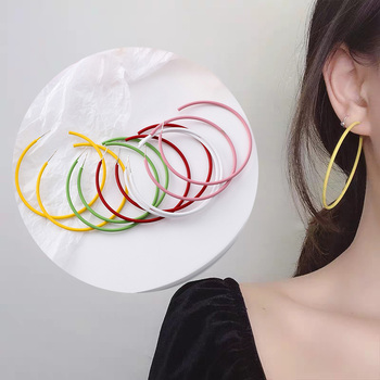 Anti allergy S925 Pin Pink Yellow Red Green White Big Hoop Earrings For Women Opening Thin.jpg 350x350 - Anti-allergy S925 Pin Pink Yellow Red Green White Big Hoop Earrings For Women Opening Thin Minimalist Big Hoop Earring For Girl