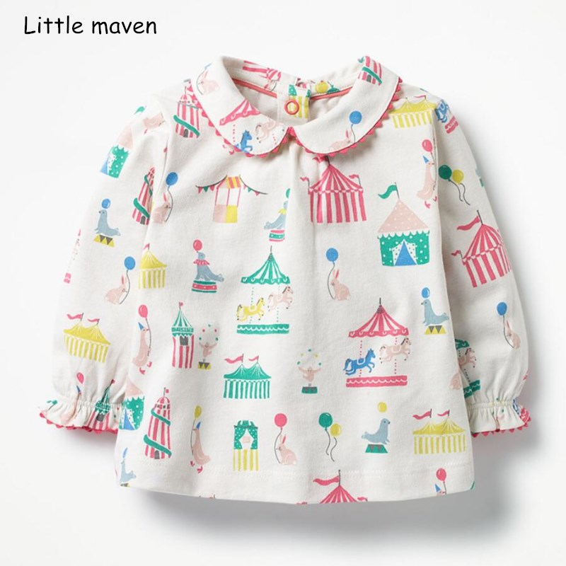 Little maven children brand baby girl clothes 2018 autumn new girls cotton long sleeve house sea lions print t shirt 51138Little maven children brand baby girl clothes 2018 autumn new girls cotton long sleeve house sea lions print t shirt 51138