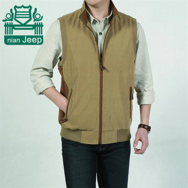 Nian AFS JEEP M To 4XL Men's Plus Size 100% Pure Cotton Loose Cargo Vest,Thickness Casual Patchwork Sleeveless Coat Jacket