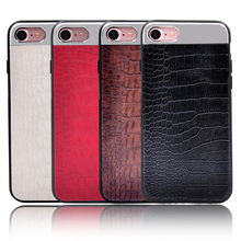 Metal wire drawing mobile phone shell crocodile skin paste phone case for iPhone7 leather case 7plus