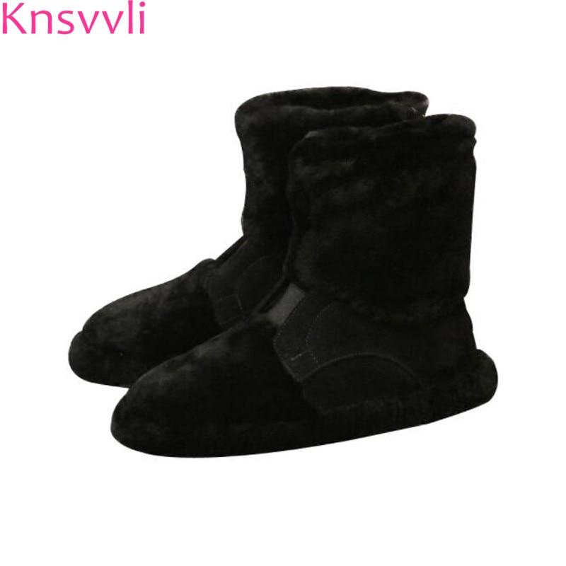 Knsvvli court neige bottes femmes fourrures 2018 nouveau style femme hiver bottes talon plat en peluche à l'intérieur garder au chaud noir kaki dames chaussures