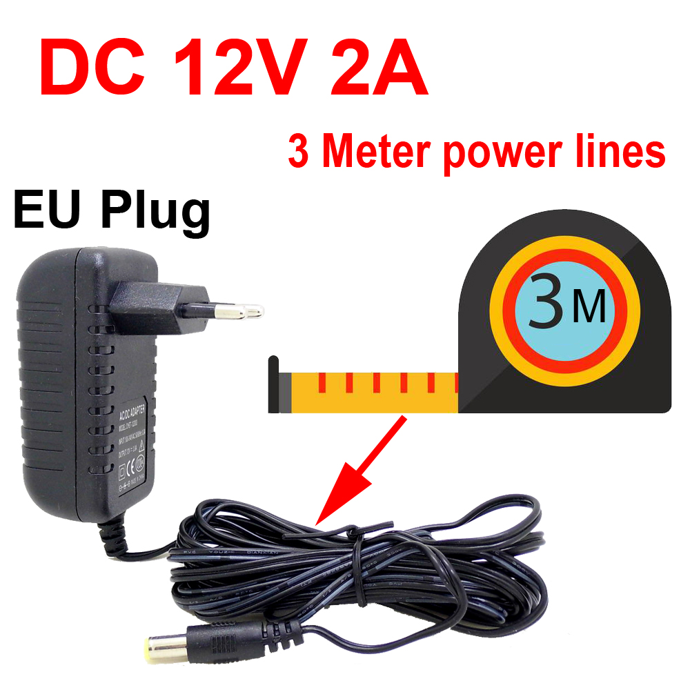 3 Meters EU Plug AC DC Power adapter charger 3M Power Cable for CCTV Camera AC 100-240V DC 12V 2A  2 1mm   5 5mm