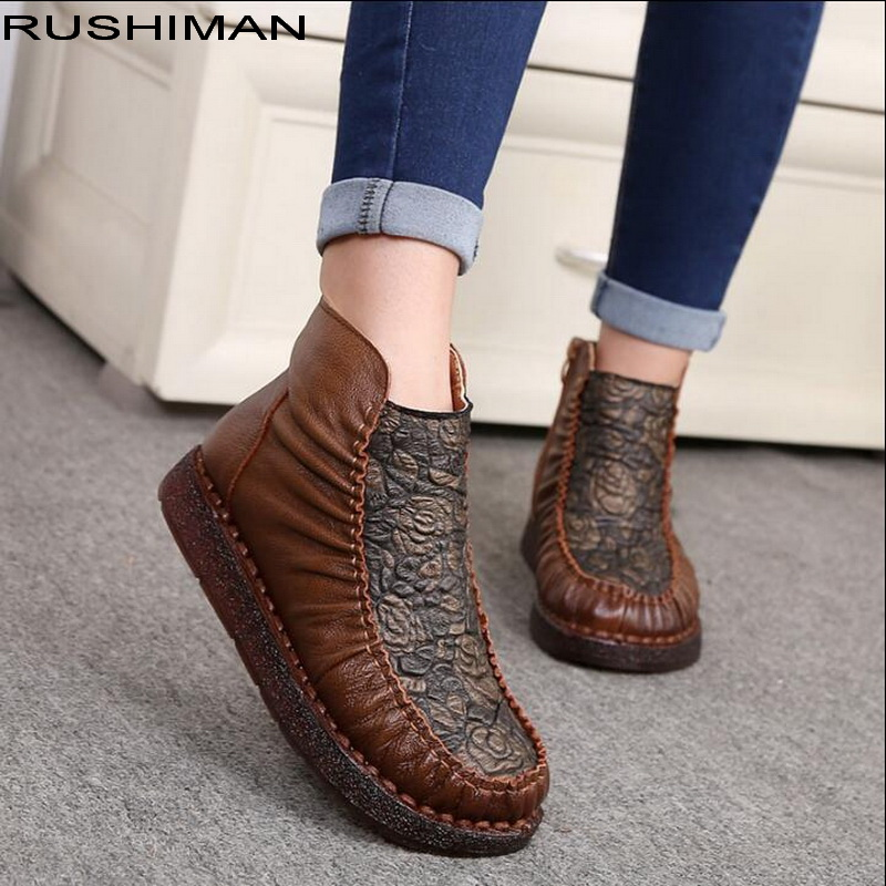 все цены на RUSHIMAN 2018 Women Boots Genuine Leather Martin Boots Flat Shoes Fashion Handmade Ankle Shoes for Women онлайн