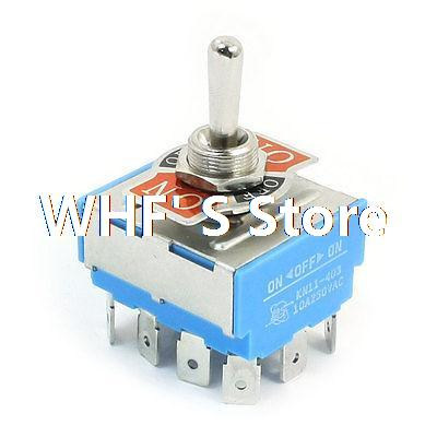 KN11-403 4PDT 3 Positions On/Off/On Toggle Switch AC 250V 10A on off on 3 positions 4pdt 12 pin terminal rocker type toggle switch ac 250v 2a mts 403