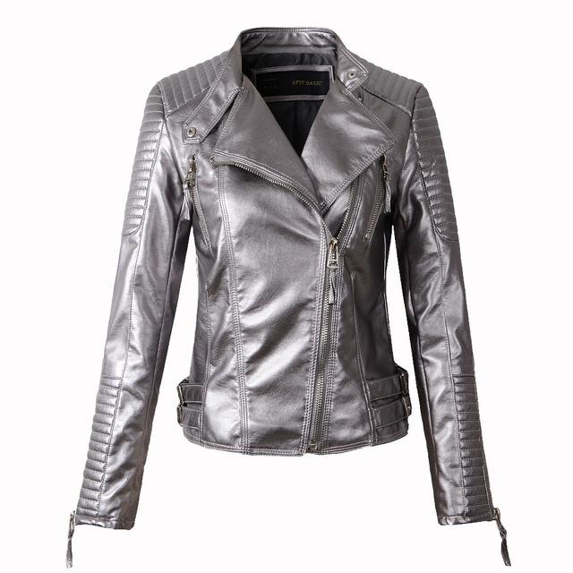 Nueva chaqueta de moda 2015 para mujer, Saco para invierno y otoño, elaborada en cuero sintético suave, abrigos con cierre en negro, rojo, amarillo, chaqueta manga larga para motocicleta