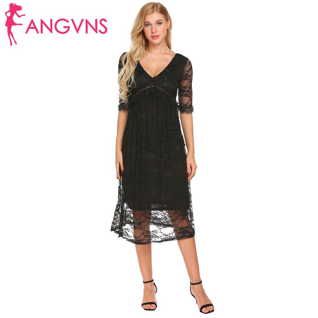 New fashion summer dress women half sleeve v-neck sexy elegant pink lace dresses party ldies office vestidos