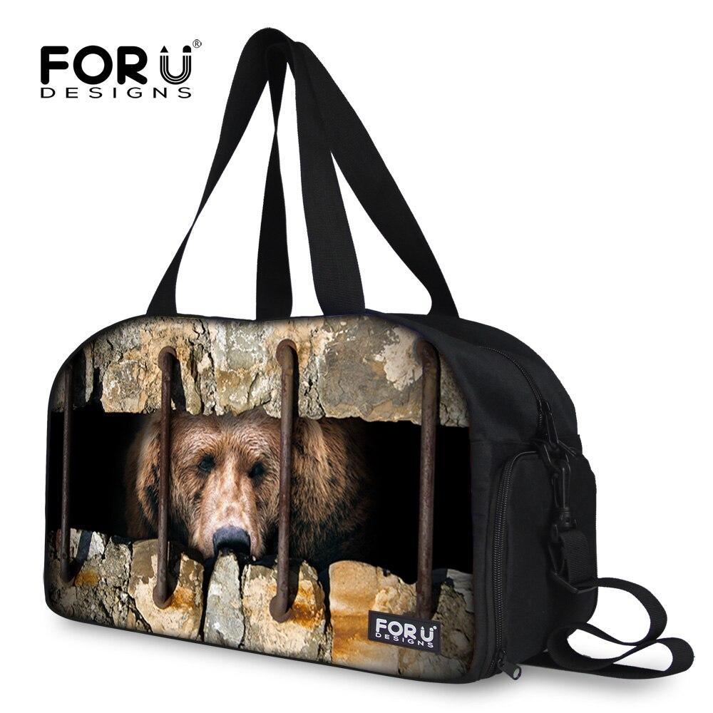 FORUDESIGNS Casual Women Travel Bag Large Capacity Women Luggage Travel Duffle Bags Animal Bear Trip Folding Boarding Bag